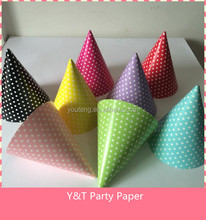 Paper Party Cone Hats Caps Polka Dots for Birthday Party Shower Supplies