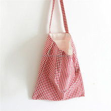 Literary classic plaid cotton and linen package grid small pure and fresh and single shoulder shopping bag