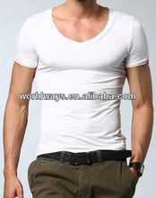 White v-neck collar 100% cotton t-shirt,t-shirt men slim fit