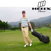 Helix genuine leather golf cart bag with wheels /real leather golf stand bag with wheels patent /golf bag with wheels attached