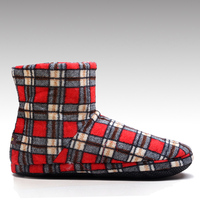 HC-822FR Grape seeds insole home warm cozy feet ladies boots microwave for winter with plaid pattern
