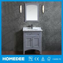 2015 Single Wash Basin 24 inch Gray Slim Bathroom Vanity mirrored