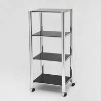 4- Tier Glass Trolley With Wheels