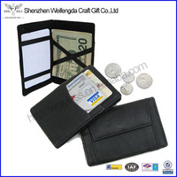 Black Ticket Thin Safely Note Credit Card Leather Magic Wallet Holder