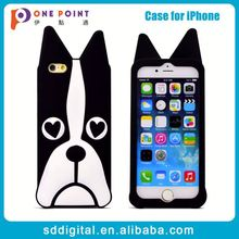 Black dog silicone custom snap-on phone case for iphone