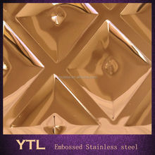 SUS304 Yellow Golden Mirror Finish/ Embossed Stainless Steel Plate/Shopping mall decorative wall plate 0.46-0.86mm