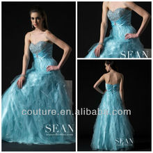 2014 Promotion a-line strapless crystals light blue ruffle organza floor length 2012 evening dresses ed048