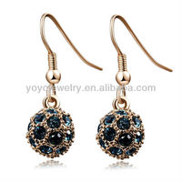 E942 Hot sale wholesale earring display golden&crystal elegant blue crystal ball earrings