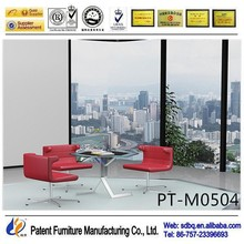 PT-M0504 WorkWell office furniture supply standard high gloss office glass desk with metal legs side table good quality