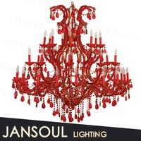 led light red colored glass lantern chandelier