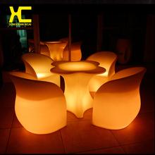 Plástico mudança de cor de controle remoto Chargeable LED sala de jantar conjunto de móveis