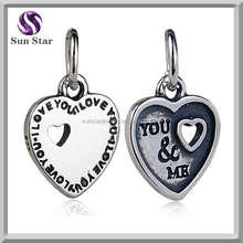 Sterling 925 silver charms oxidized I LOVE YOU, YOU&ME words in relief hanging charm fit DIY bracelet