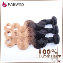 Fabwigs 2015 new product top grade two tone virgin malaysian hair extension 1b 27 hair color