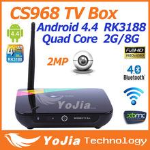 CS968 Android 4.4 Kitkat Quad CoreTV Box XBMC Preinstalled Web Cam Mic RK3188 Quad Core 2G RAM 8G ROM Mic WiFi Remote Control
