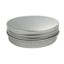 small round silver metal tin lipstick case