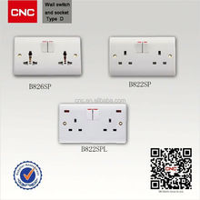 UK type wall double socket with double USB port square socket wrench