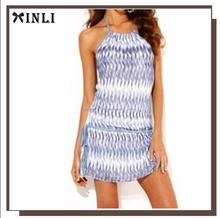 Vestido corto mujer halter estampado azul