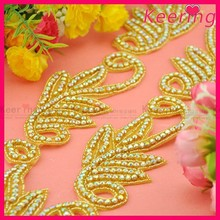 fashion gold newest design iron on crystal appliques WRA-714