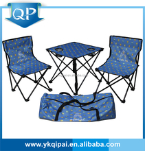 folding camping chair and table with two cup holders
