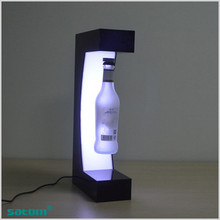 customized led stand acrylic beer display magnet floating wine bottle display