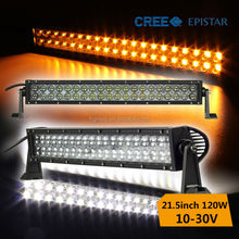 factory sale double row amber white led light bar 120w