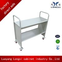 luoyang longxi Metal Library Mobile Book Carrier,Metal Library Mobile Steel Library Book Ladder, School Furniture Book Car