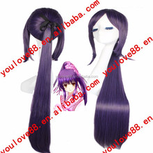 straight purple ponytail anime cosplay costumes wig with draw string for Party/ Decration/Gift /Cosplay/chrismas L1504L93-94C