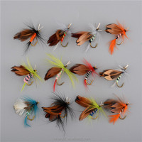 Promotion Fly Fishing Hooks 12pcs/set Insect Style Salmon Flies Trout Single Hook Dry Fly Fishing Lure Fishing Tackle