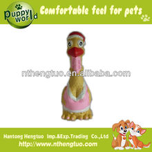 pet chicken in vest latex pet toy,squeaky dog toys