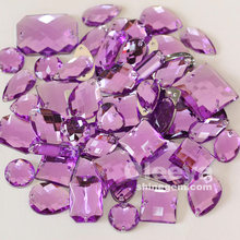 factory wholesale mix size and shape amethyst color acrylic flat back sew on rhinestones for clothes