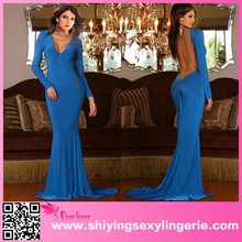 2015 Sexy Backless Long Sleeves blue muslim wedding gown Evening Dress