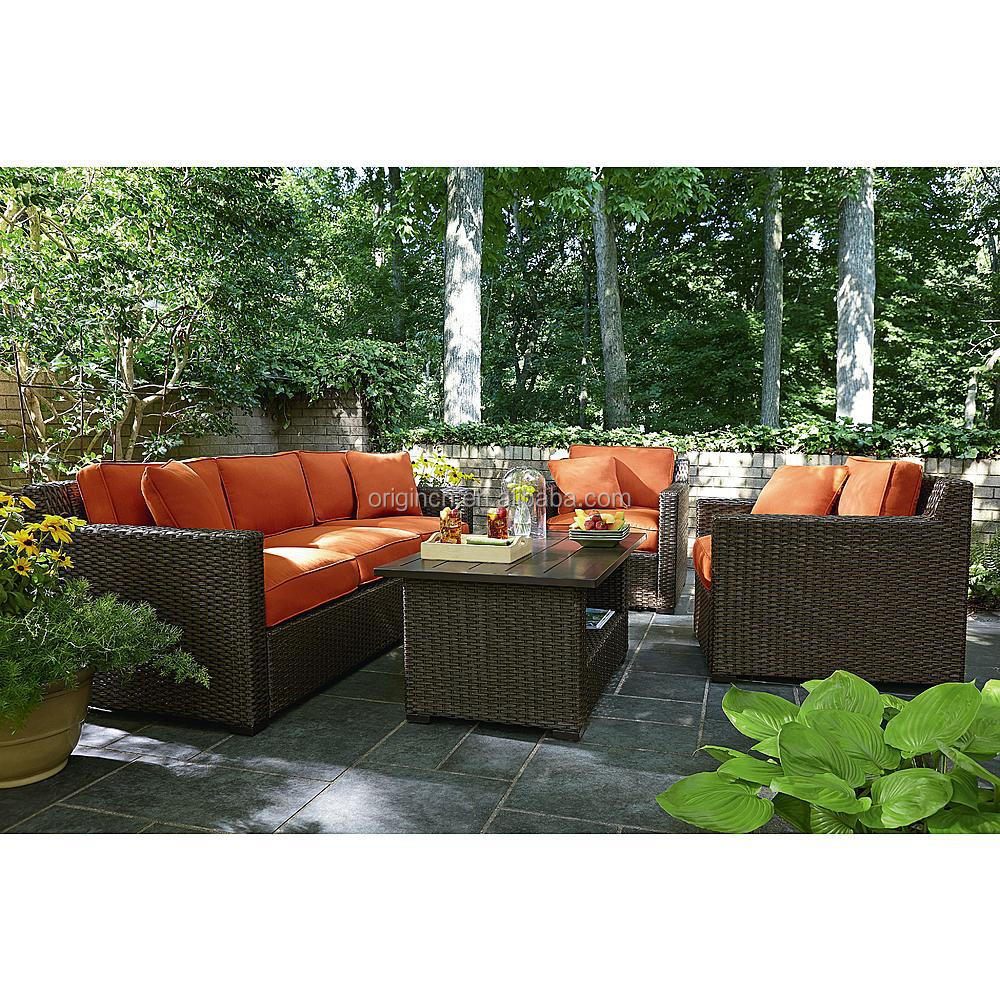 Orange Color Rattan Sectional Sofa Set Patio Furniture Factory Direct Wholesa