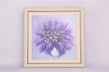 Purple flower with beige frame for home decor framed art