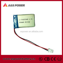 China supplier 603048 rechargeable 3.7V 900mAh lipo battery for Mp3/Mp4