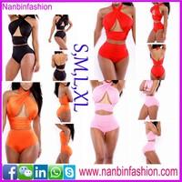 nanbinfashion halter two pcs women swimwear bikini in stock