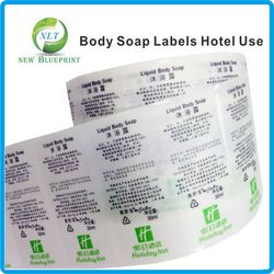 Custom Clear PE Labels In Rolls For Liquid Soap Bottle Use, Custom Printed Private Transparent Stickers For Plastic Bottle Use