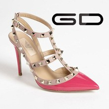 New style fashion peach color rome style pumps high heel shoes for girls