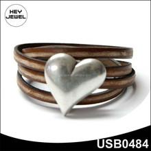 heart shape Leather Wrap Bracelet fashion charming bangle bracelet