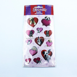 Lovely Dog Cat Purple&Red Heart Combine Velvet Sticker