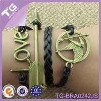 Newest Fashion Love Arrow Laughing Bird Multi-layer Handmade Braid Leather Thong For Bracelets