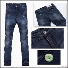 New autumn and winter Slim jeans pants feet hit the color men's trousers male green buttons