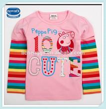 2-6y( f4135) rosa nova ropa para bebés de la marca stock lote lindo cerdo peppa blusa para las niñas