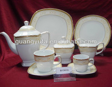 47pcs Mexican gold plated square ceramic easter dinnerware set