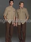100%cotton waterproof men's shirt and shorts for hotel uniform