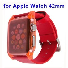 Hot New Protective Ultrathin Clear PC Case and Leather Wristband for Apple Watch Band 42mm