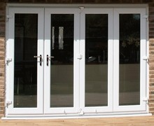 Fold up transparent shopfront door/Security transparent folding door