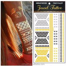 Custom gold temporary flash jewelry body metallic sticker tattoo