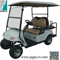 4 seater electric golf cart with flip flop seat -EG2029KSZ, with flip windshield, rain cover, long roof color match body