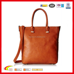 Wholesale fashion leather tote bag brown color, Leather Tote bag with pouch, Leather tote bag made in china
