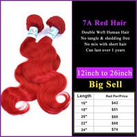 High quality unprocessed raw red color virgin malaysian hair free sample, Remy hair red color